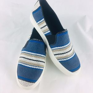 New Vince Blair Blue Multi Stripe Slip Sneakers